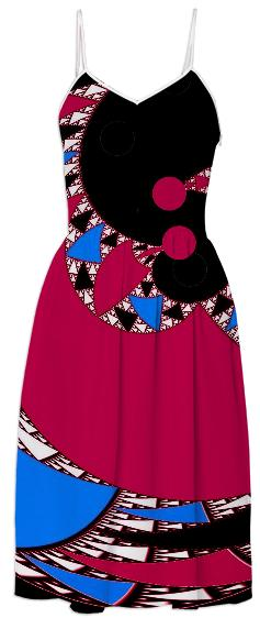 Red Black Abstract Swirl Summer Dress