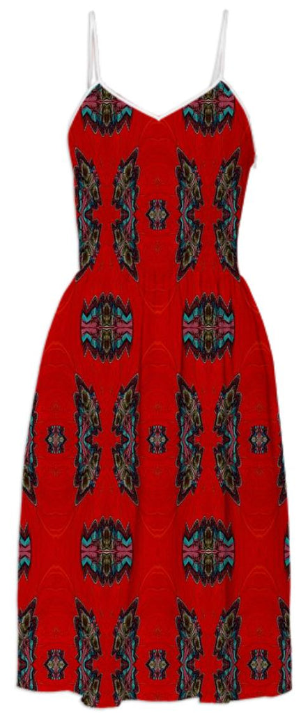 Red Black Pattern Summer Dress