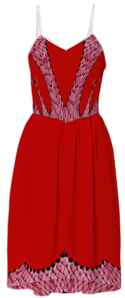 Red Mesh Summer Dress
