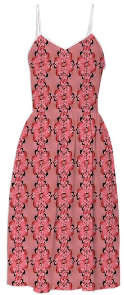 Red Orange Flowers Summer Dress