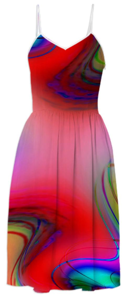 Red Passion Abstract Summer Dress