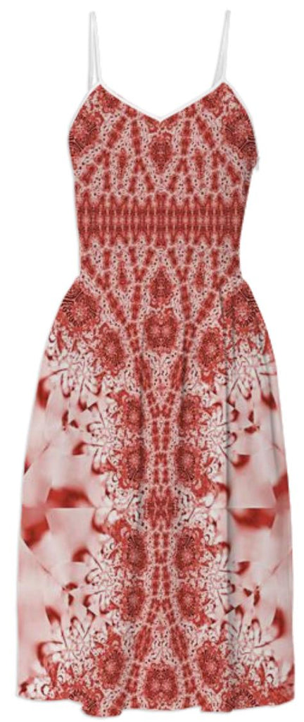 Red Pink Lace Summer Dress