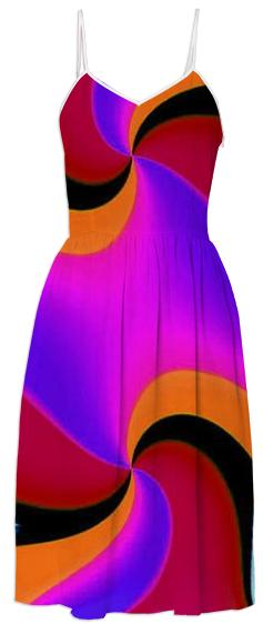 Red Pink Orange Fractal Summer Dress