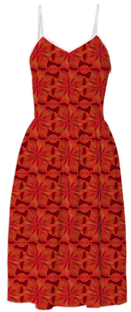 Red Pinwheel Pattern Summer Dress