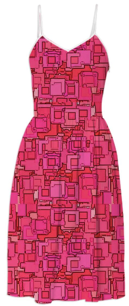 Red Pixelized Summer Dress