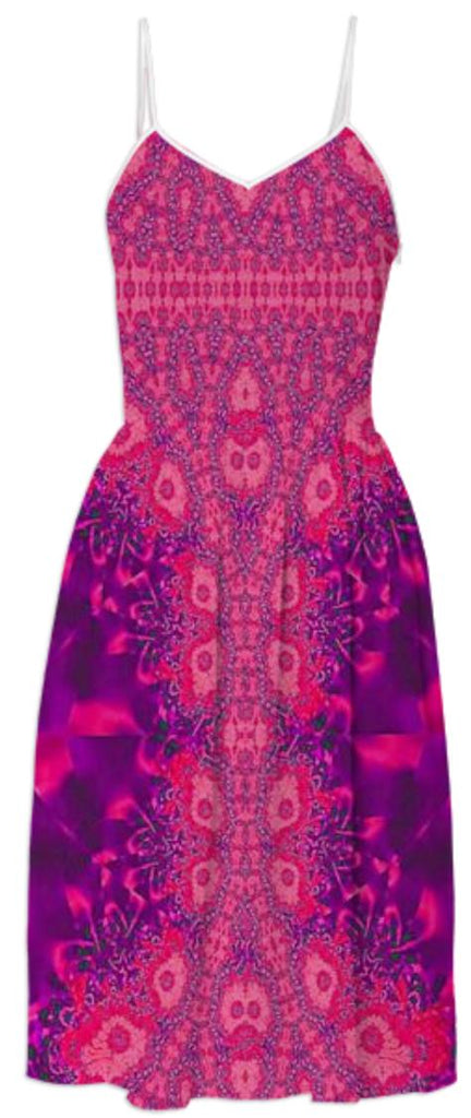Red Purple Lace Summer Dress