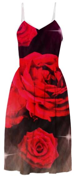 Red Rose Sparkle Summer Dress