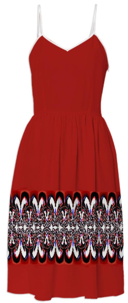 Red Summer Dress with Black and White Border