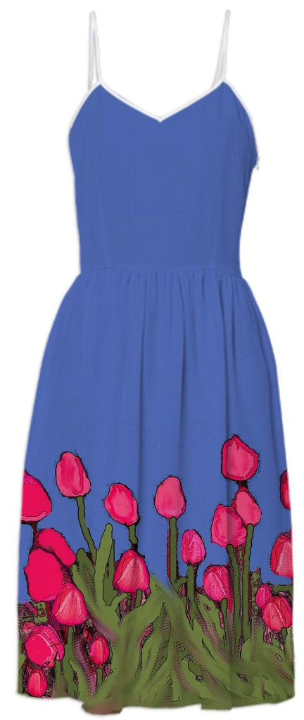 Red Tulips on Blue Summer Dress