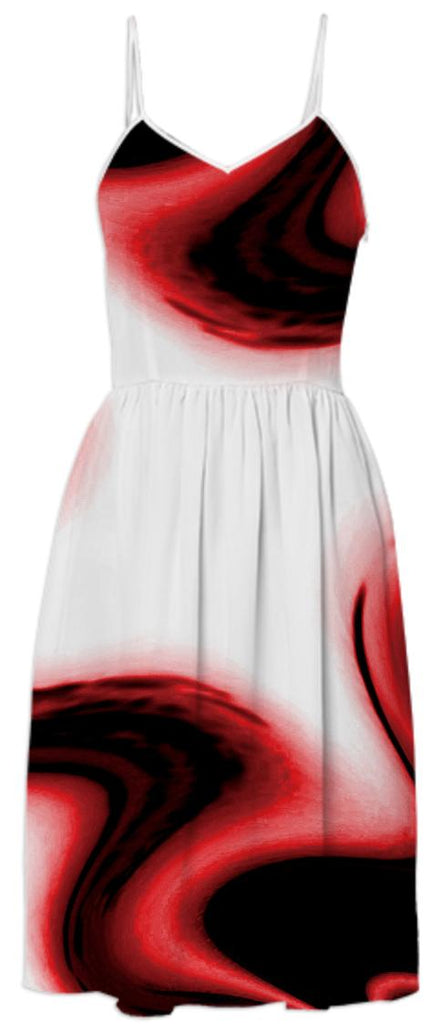 Red White Passion Abstract Summer Dress