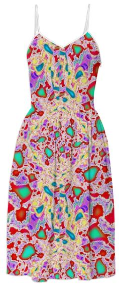 Red Yellow Abstract Summer Dress