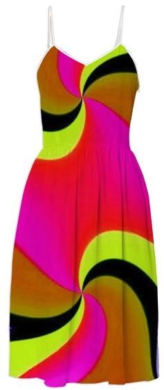 Red Yellow Double Swirl Summer Dress