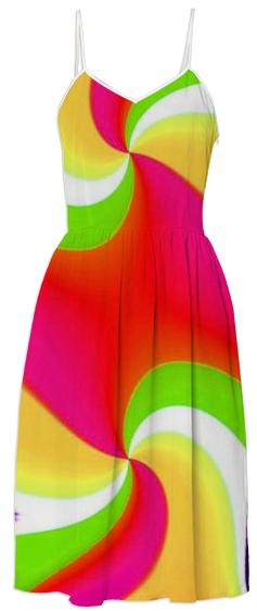 Red Yellow Green Double Swirl Summer Dress