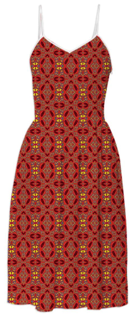 Red Yellow Pattern Summer Dress