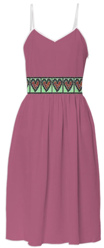 Rose Colored Summer Dress with Hearts