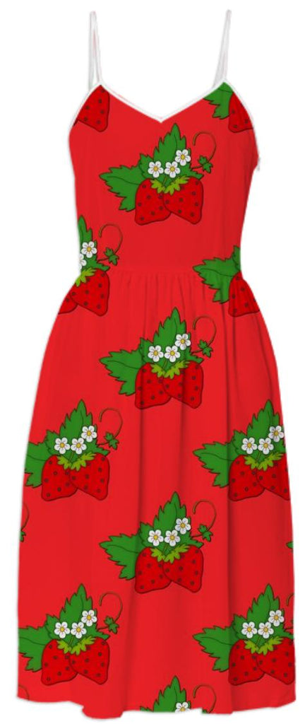 Summer Strawberries Red Dress