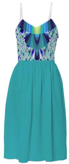 Teal Abstract Top Summer Dress