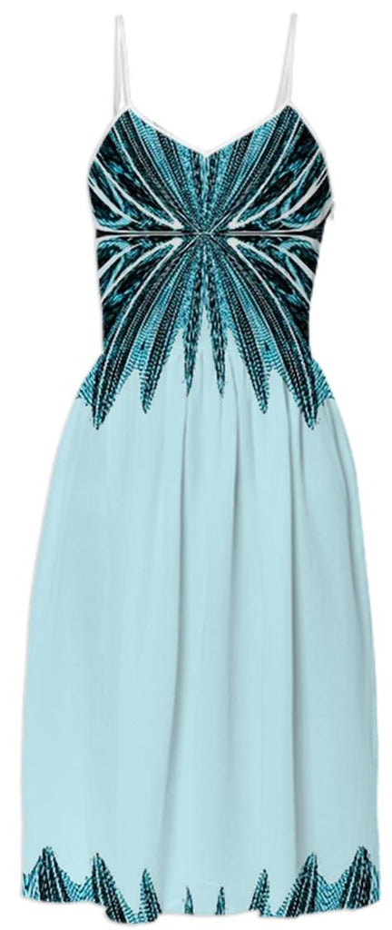 Teal Aqua Abstract Summer Dress