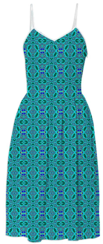 Teal Pattern Summer Dress
