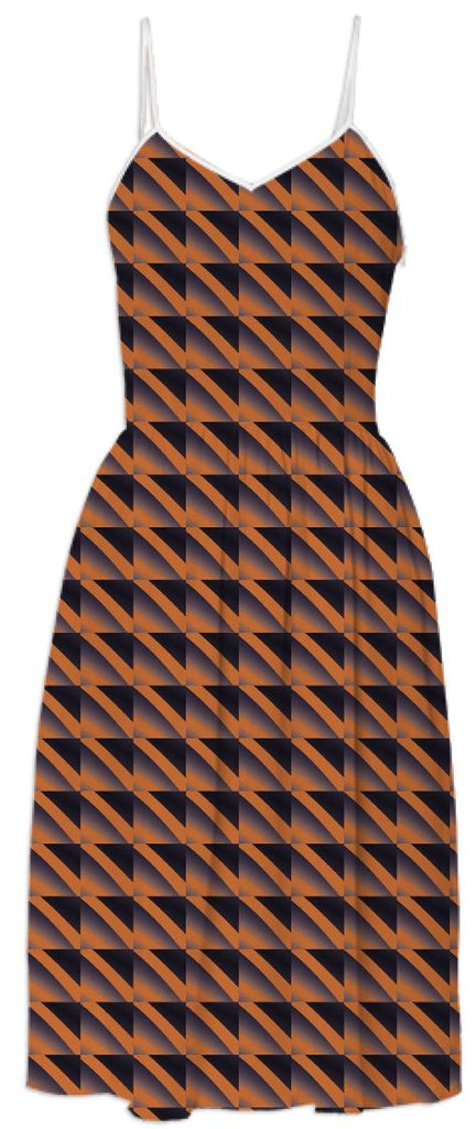 Terracotta Geometric Print Dress