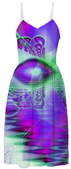 Violet Peacock Feathers Abstract Fractal Crystal Mint Green