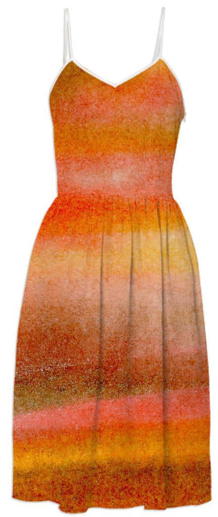 Warm Orange Gold and Brown Watercolor Striped Dress