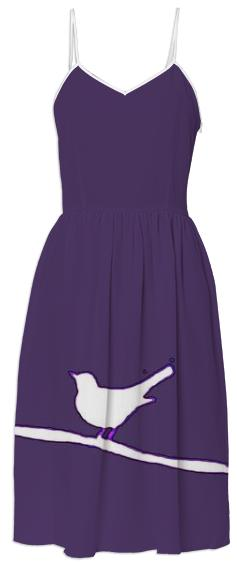 White Bird on a Wire Purple Summer Dress