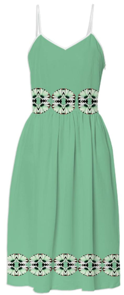White Daisies on Green Summer Dress