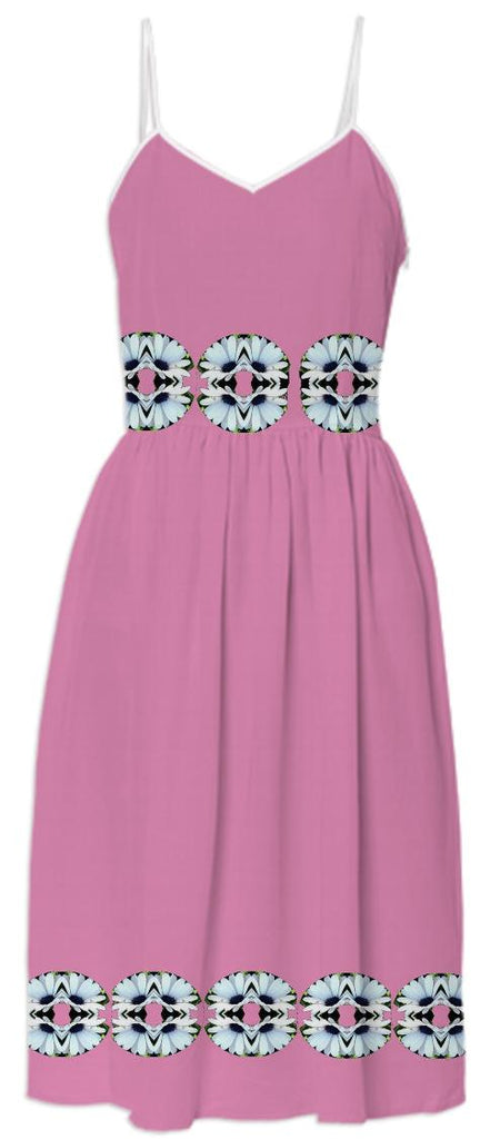 White Daisies on Pink Summer Dress