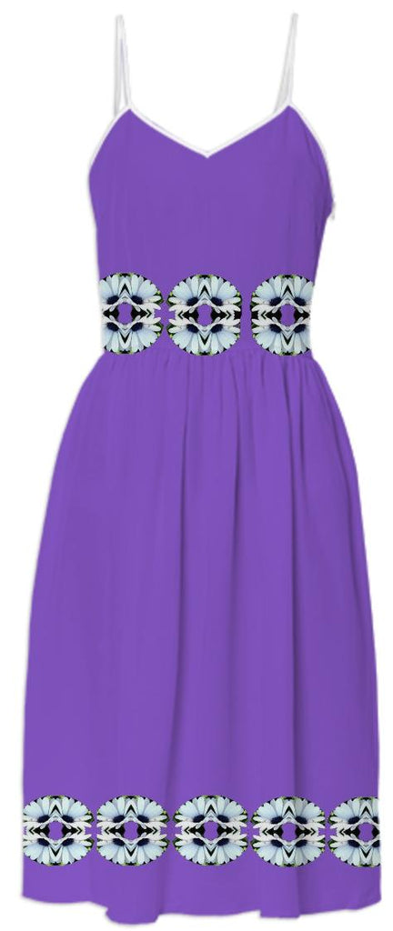 White Daisies on Purple Summer Dress