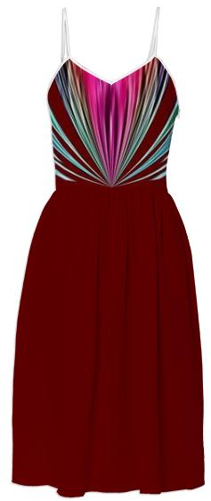 Wine with Raspberry and Grey Stripes Summer Dress