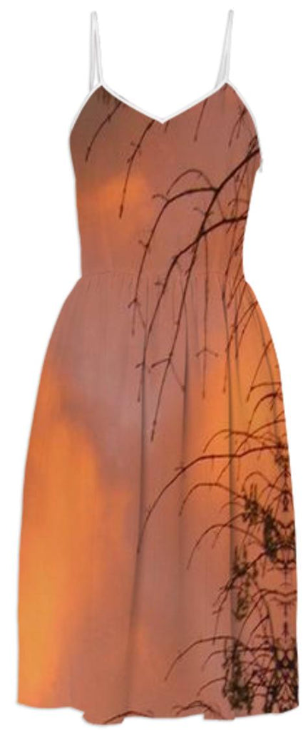 Winter Sunset Through Tree Branches Summer Dress