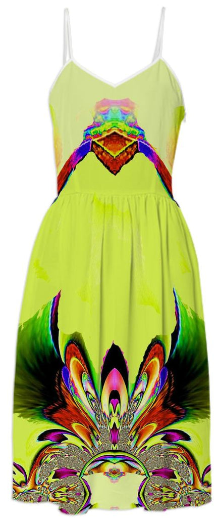Yellow Abstract Fantasy Summer Dress