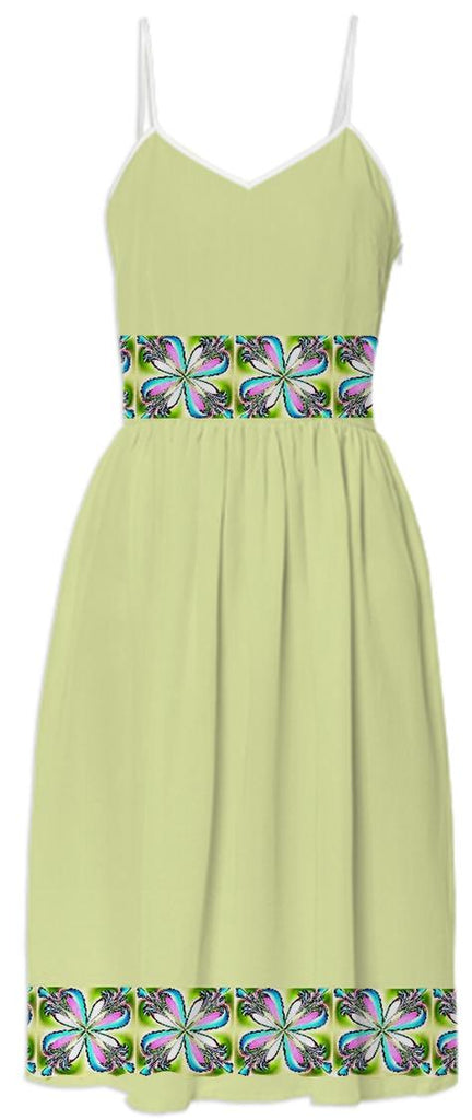 Yellow Dogwood Flowers Summer Dress