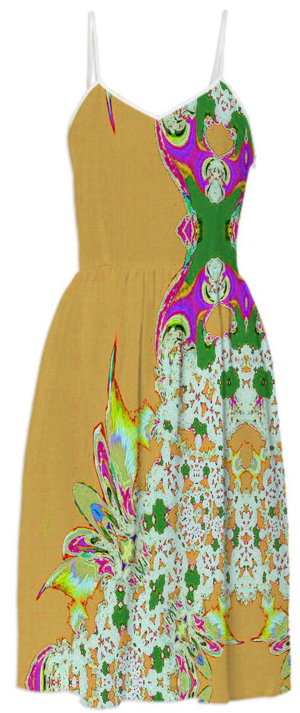 Yellow Feathers n Lace Summer Dress