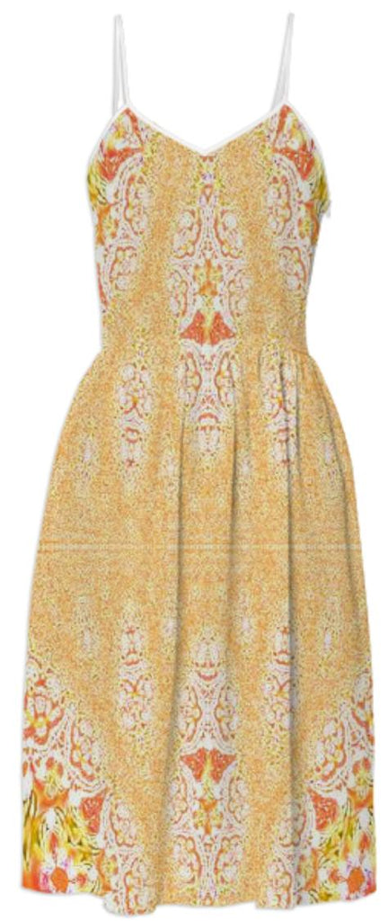 Yellow Orange Fractal Lace Summer Dress