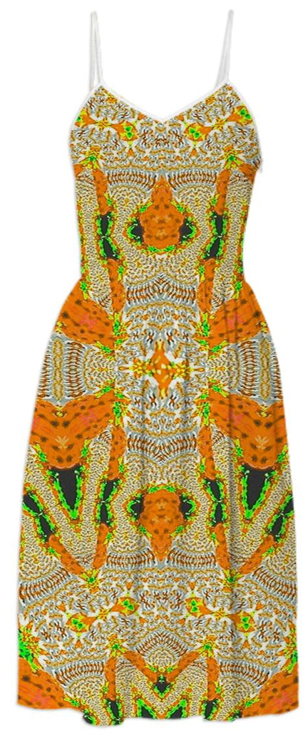 Yellow Orange Pattern Summer Dress