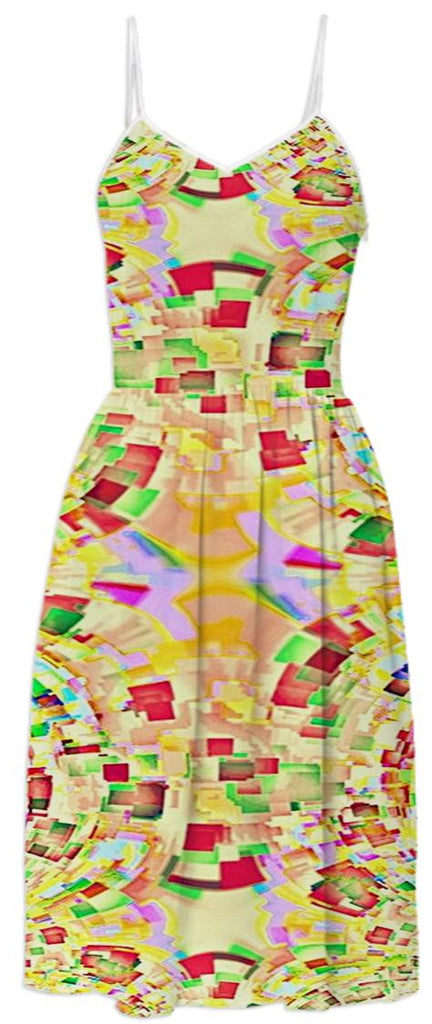 Yellow Pixels Pattern Summer Dress