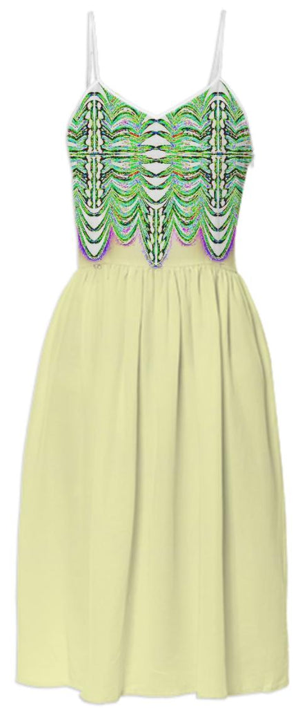 Yellow with Green Pattern Top Summer Dress