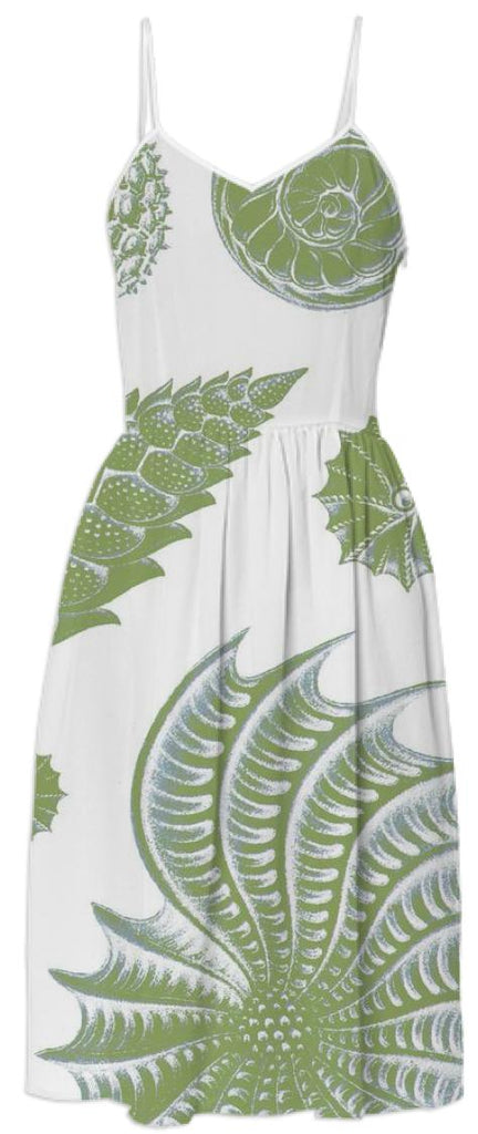 Green Shell Print Dress