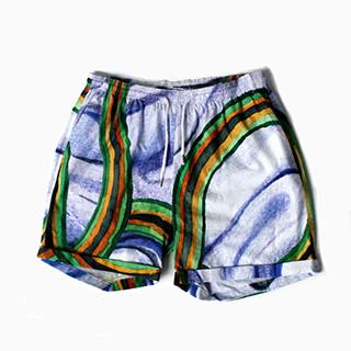 PAOM, Print All Over Me, digital print, design, fashion, style, collaboration, degen, Summer Short, Summer-Short, SummerShort, Blue, Rainbow, Thread, spring summer, unisex, Cotton, Bottoms