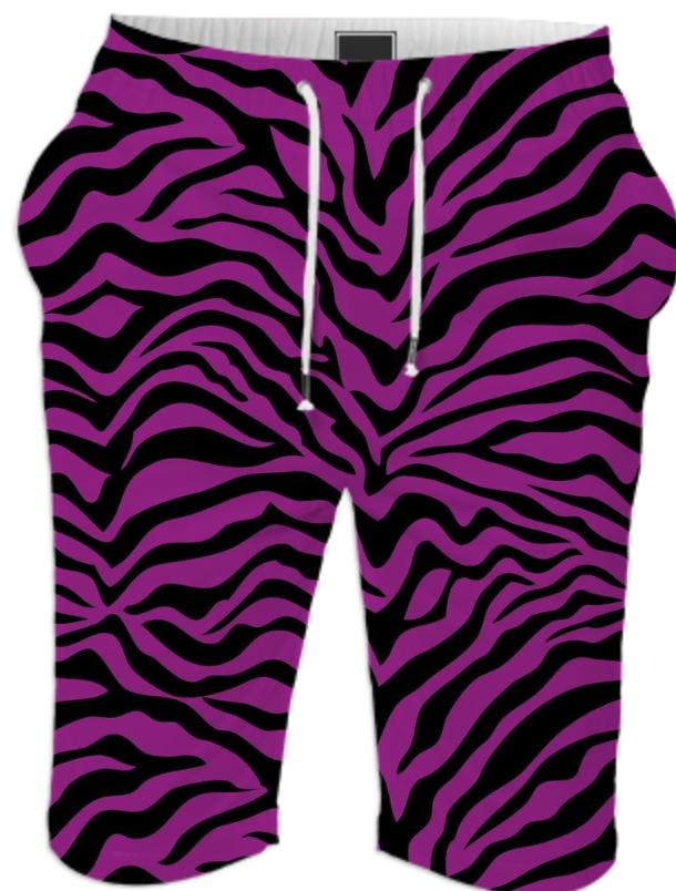 Purple and Black Zebra Print Shorts