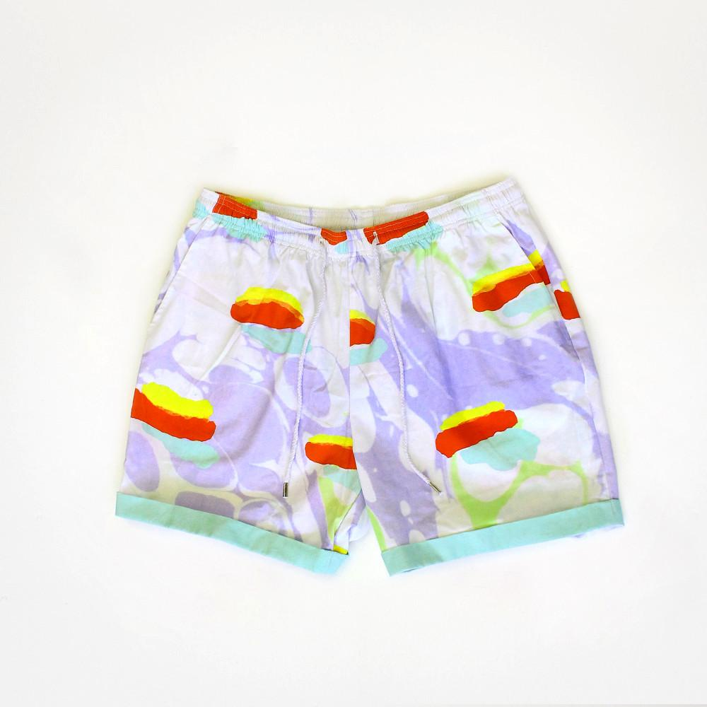 PAOM, Print All Over Me, digital print, design, fashion, style, collaboration, degen, Summer Short, Summer-Short, SummerShort, FLOATING, HOTDOG, SHORTS, spring summer, unisex, Cotton, Bottoms