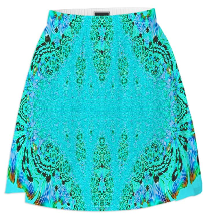 Aqua Green Lace Summer Skirt