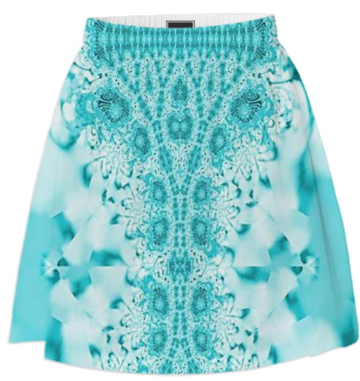 Aqua on Aqua Lace Summer Skirt