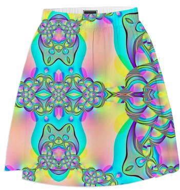 Aqua Pink Abstract Summer Skirt