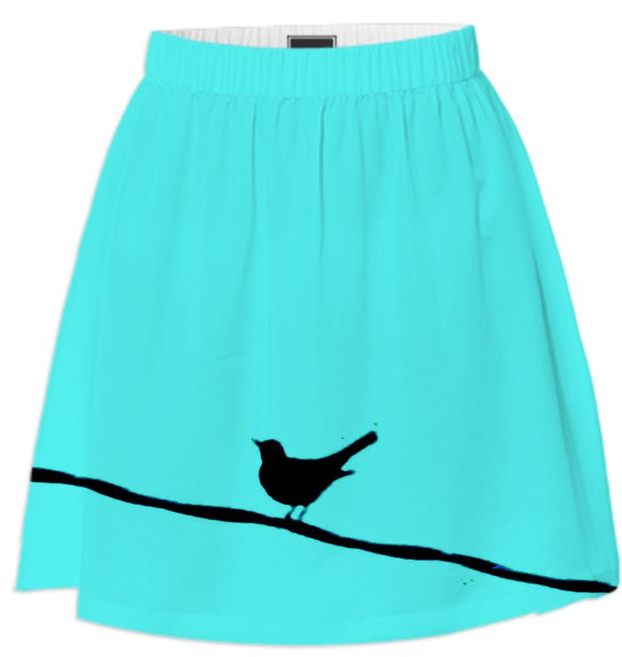 Black Bird on a Wire Turquoise Summer Skirt