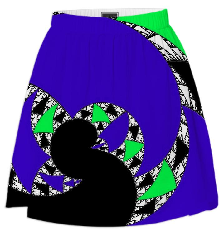 Black Blue Abstract Swirl Summer Skirt