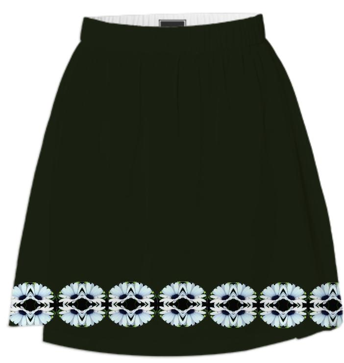Black with White Daisies Summer Skirt