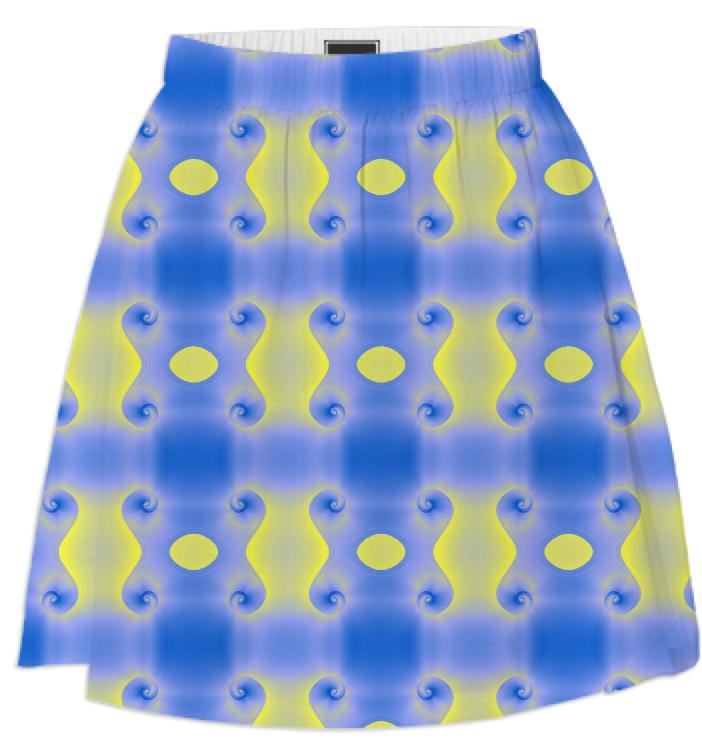 Blue and Yellow Sprials Print Skirt